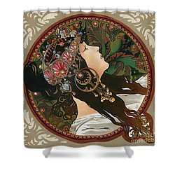 My Acrylic Painting As Interpretation Of Alphonse Mucha - Byzantine Head The Brunette Diagonal Frame Shower Curtain