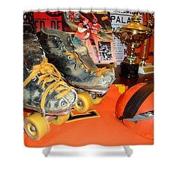 My Battle Scarred Roller Derby Skates And Helmet   Shower Curtain by Jim Fitzpatrick