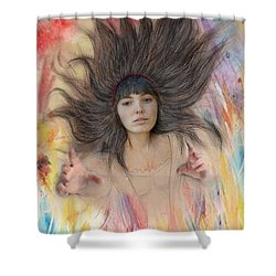 My Drawing Of A Beauty Coming Alive II Shower Curtain by Jim Fitzpatrick