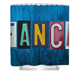 My Fancave License Plate Letter Vintage Phrase Artwork On Blue Wood Shower Curtain by Design Turnpike
