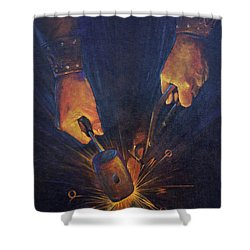 My Fathers Hands Shower Curtain by Rob Corsetti