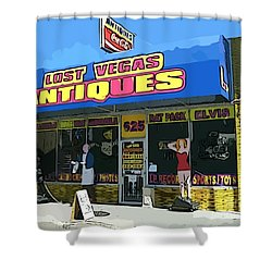 My Favorite Vegas Antique Store Shower Curtain by John Malone