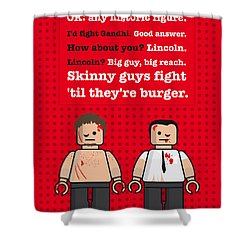 My Fight Club Lego Dialogue Poster Shower Curtain by Chungkong Art
