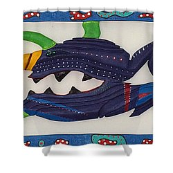 Shower Curtain featuring the sculpture My First Fish Dinner by Robert Margetts