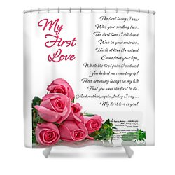 My First Love Poetry Art Print Shower Curtain by Stanley Mathis