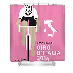 My Giro D Italia Minimal Poster 2014 Shower Curtain by Chungkong Art