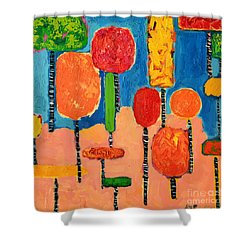 My Happy Trees 2 Shower Curtain by Ana Maria Edulescu