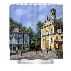 My Home Village Shower Curtain by Guido Borelli