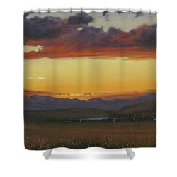 My Home's In Montana Shower Curtain by Mia DeLode