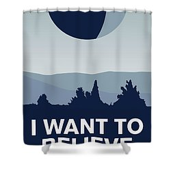 My I Want To Believe Minimal Poster-deathstar Shower Curtain by Chungkong Art