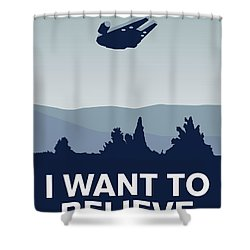 My I Want To Believe Minimal Poster-millennium Falcon Shower Curtain by Chungkong Art