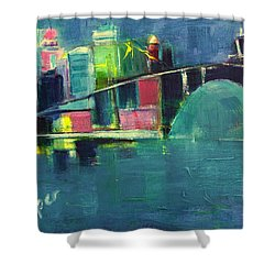 Shower Curtain featuring the painting My Kind Of City by Betty Pieper