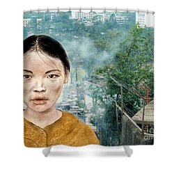 My Kuiama A Young Vietnamese Girl Version II Shower Curtain by Jim Fitzpatrick