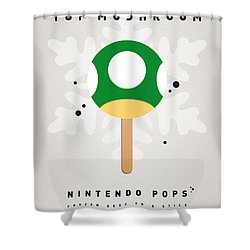 My Nintendo Ice Pop - 1 Up Mushroom Shower Curtain by Chungkong Art