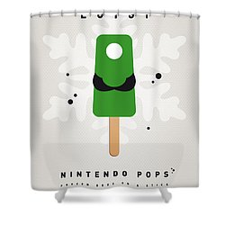 My Nintendo Ice Pop - Luigi Shower Curtain by Chungkong Art