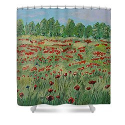 Shower Curtain featuring the painting My Poppies Field by Felicia Tica