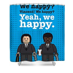My Pulp Fiction Lego Dialogue Poster Shower Curtain by Chungkong Art