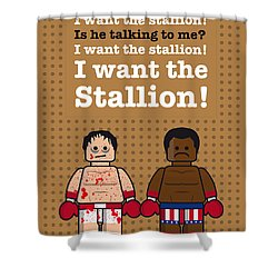 My Rocky Lego Dialogue Poster Shower Curtain by Chungkong Art