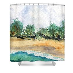 My Secret Beach Shower Curtain by Marionette Taboniar