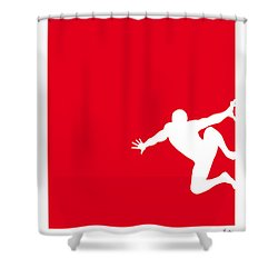 My Superhero 04 Spider Red Minimal Poster Shower Curtain