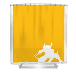 My Superhero 05 Wolf Yellow Minimal Poster Shower Curtain by Chungkong Art