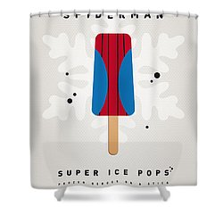 My Superhero Ice Pop - Spiderman Shower Curtain by Chungkong Art