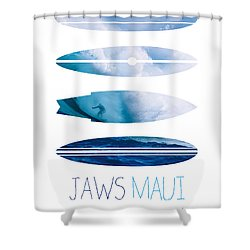 My Surfspots Poster-1-jaws-maui Shower Curtain