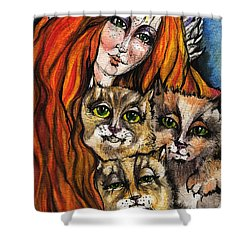 My Three Cats Shower Curtain by Angel  Tarantella