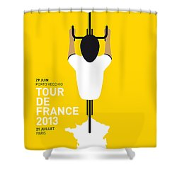 My Tour De France Minimal Poster Shower Curtain