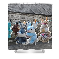 Shower Curtain featuring the photograph Toys On Washing Line by Nina Ficur Feenan