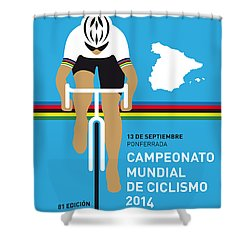 My Uci Road World Championships Minimal Poster 2014 Shower Curtain by Chungkong Art