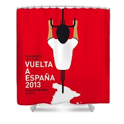 My Vuelta A Espana Minimal Poster - 2013 Shower Curtain by Chungkong Art