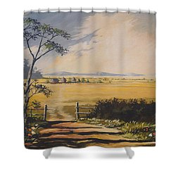 Shower Curtain featuring the painting My Way Home by Anthony Mwangi