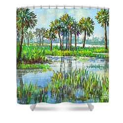 Myakka Lake With Palms Shower Curtain by Lou Ann Bagnall