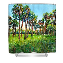 Myakka Palms Shower Curtain by Lou Ann Bagnall