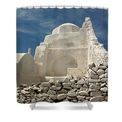 Mykonos Church Shower Curtain by Vivian Christopher
