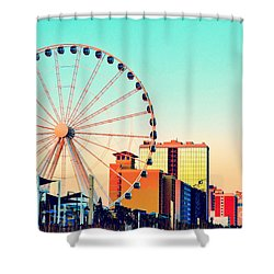 Shower Curtain featuring the photograph Myrtle Beach Skywheel by Kelly Nowak