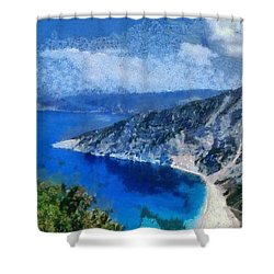 Myrtos Beach In Kefallonia Island Shower Curtain