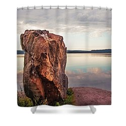 Mysterious Stone. Frontier In Between Old And New World Shower Curtain by Jenny Rainbow