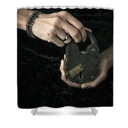 Mysterious Woman With Lock Shower Curtain by Edward Fielding