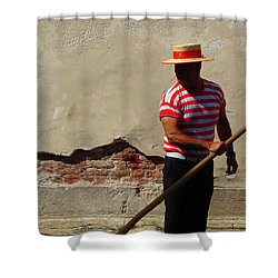 Mystery Gondolier Shower Curtain by Ramona Johnston