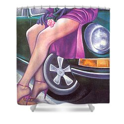 Mystery On Peter Porsche Shower Curtain by Mary Ann  Leitch