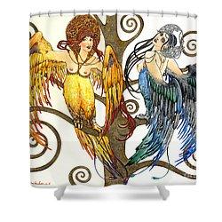 Mythological Birds-women Alconost And Sirin- Elena Yakubovich  Shower Curtain by Elena Yakubovich