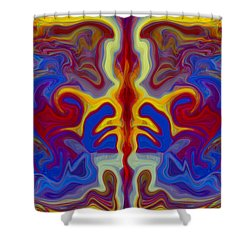 Shower Curtain featuring the painting Myths Of Dragons by Omaste Witkowski