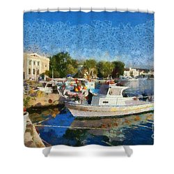 Mytilini Port Shower Curtain