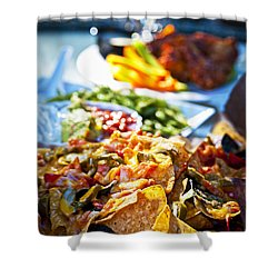 Nacho Plate And Appetizers Shower Curtain by Elena Elisseeva