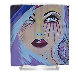 Naira - Contemporary Woman Painting Shower Curtain