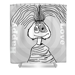 Naive - Gray Shower Curtain by Tine Nordbred