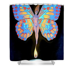 Naked Butterfly Lady Transformation Shower Curtain