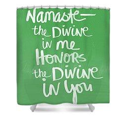 Namaste Card Shower Curtain by Linda Woods